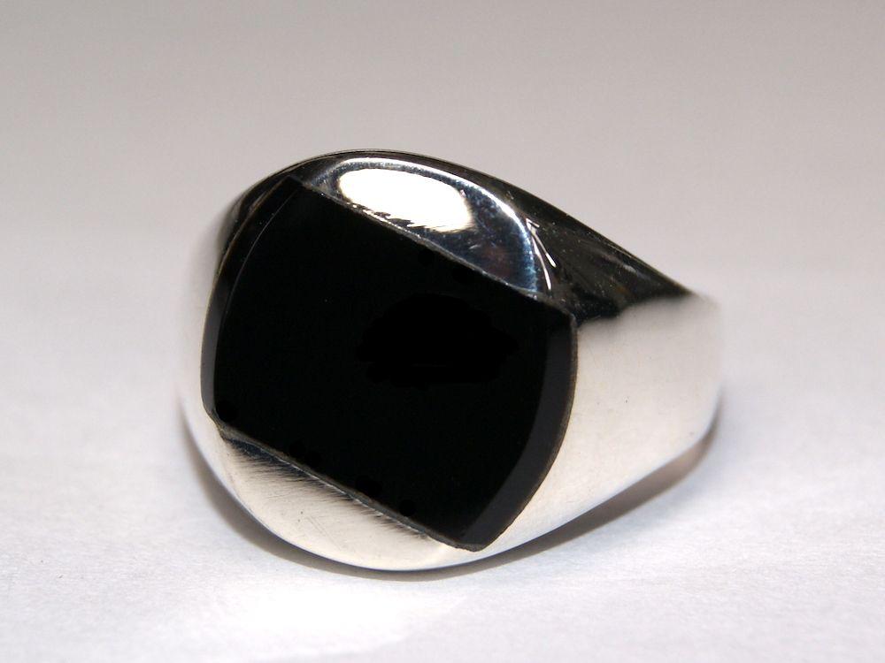 Silberring Männerring Siegelring Ring Sterlingsilber 925 Handarbeit schwarz Onyx