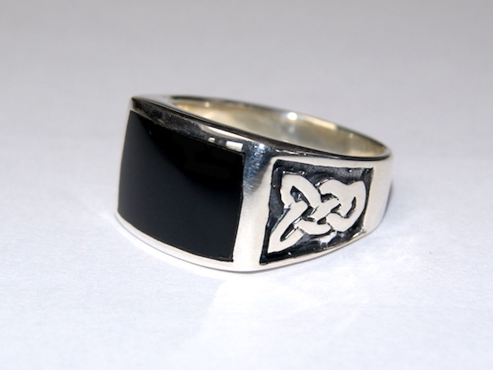Silberring Männerring Siegelring Ring Sterlingsilber 925 Handarbeit Onyx Gr 65